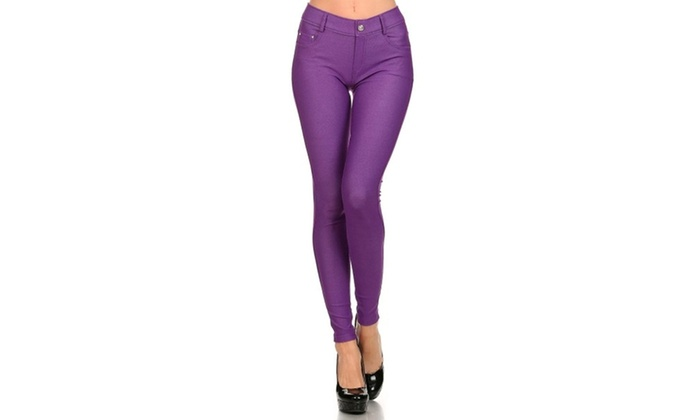 Women's Solid Color Jeggings Q