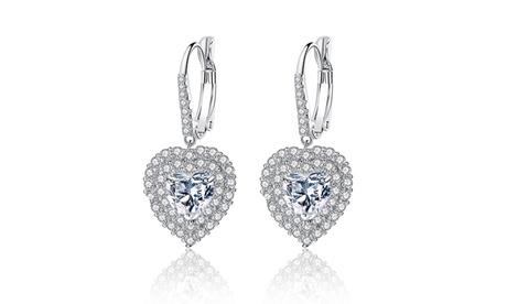 Leo Rosi Luxury Gem Heart Earrings in Sterling Silver