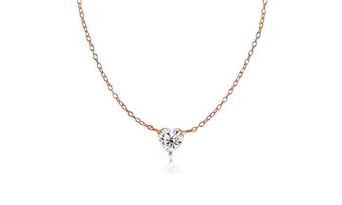 7447630a597 Rose Gold Flashed 925 Silver Small Dainty Cubic Zirconia Heart Choker  Necklace Clear Cubic Zirconia Sterling Silver