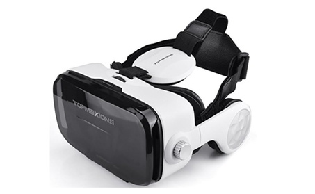VR Headset with Headphone, Topmaxions 3D Glasses Virtual Goggles - BLACK B d8efba3a-61b3-4024-9821-b140d7d10325