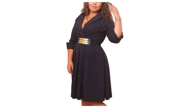 Women's Casual Without Hood Belted Cuffs Solid Suit Dress