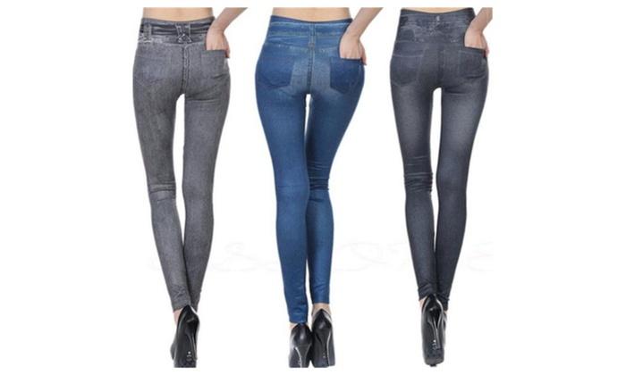 Women's Hight Waist Trousers Denim Print Leggings