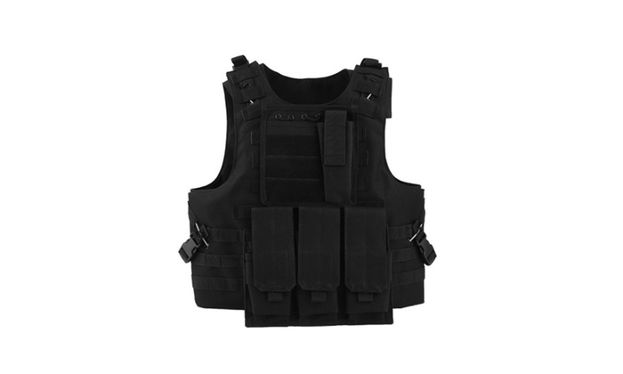 Black Military Police Security Molle Tactical Plate Carrier Vest ... 57c64557e6d