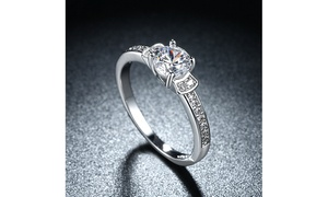 0.30 CTTW Mini Solitaire Floral Engagement Ring in 14K White Gold