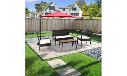 4-piece Outdoor Leisure Rattan Furniture Rattan Chair Solid Wood Coffee Table