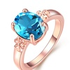 18K Rose Gold Plated Blue Zirconia Cocktail Ring