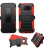 Insten Hard Hybrid Silicone Case W Holster For Galaxy S7 Black Red