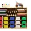 ECR4Kids Multi-Section Birch Storage with 15 Bins