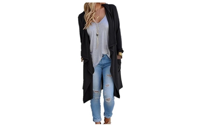 Women's Solid Lightweight Knitted Open Front  Coat Cardigan