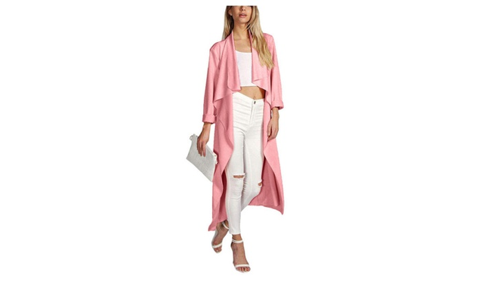 Women's Long Sleeves Duster Jacket Belted Trench Coat