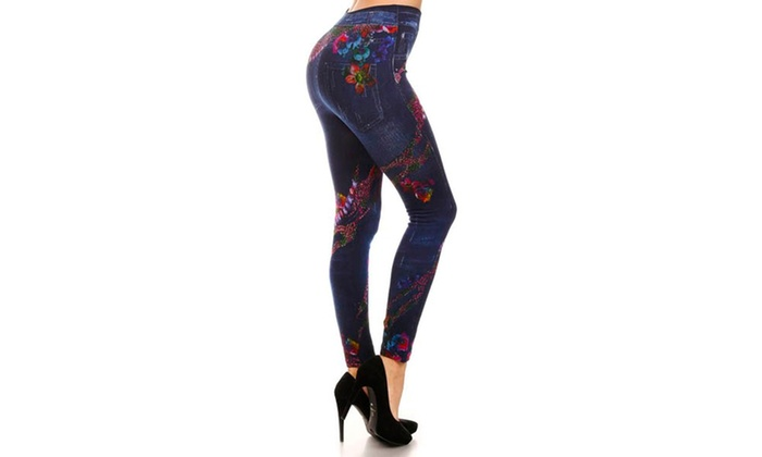 Lady's Jeggings With Rainbow Reptile (Sublimation)