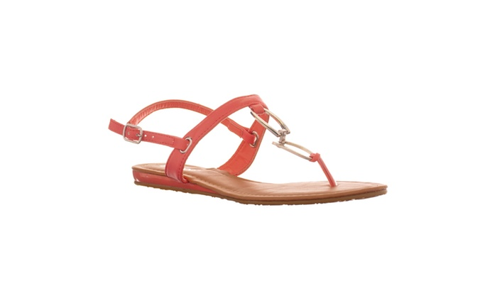Riverberry Women's 'Saili' Metal Hardware T-strap Flat Sandal, Melon