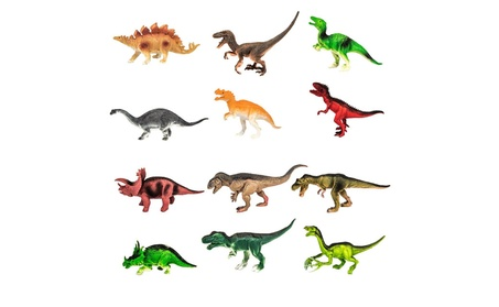 """12 Pack of Assorted Realistic Jumbo Sized 8"""" Inch Plastic Dinosaurs 81ed17df-ebd3-4469-a757-d271605c6880"""