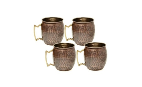 Old Dutch OS437 16 oz. Antique Hammered Solid Copper Moscow Mule Mugs photo