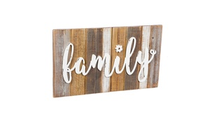 Wooden Wall Art (Family, Blessed, Welcome)