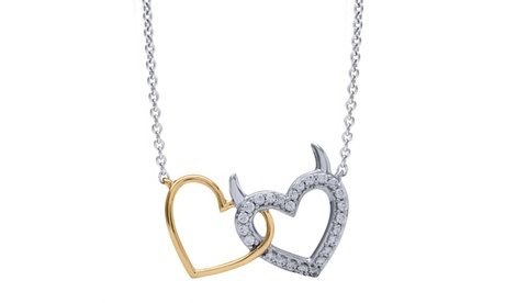 Sterling Silver with Yellow Plate 1/7cttw Diamond Devil Heart Pendant abaa7c4c-7448-4518-8d10-86d9be364466