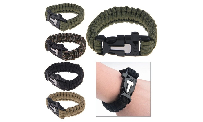 Survival Bracelet Paracord Flint Fire Starter Scraper Whistle GearKits