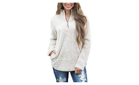 Women's Fuzzy Quarter Zip Polar Fleece Plush Sweatshirt Pullover e4acb1d0-721c-4b4b-8dae-10be609eb7d8