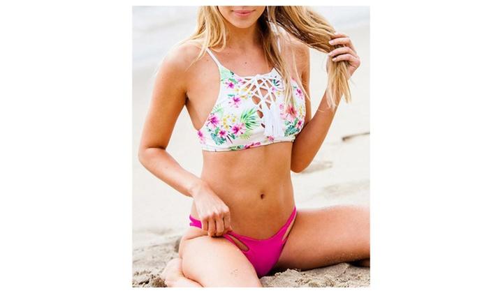 Floral Weave Bandage Bikini Sets