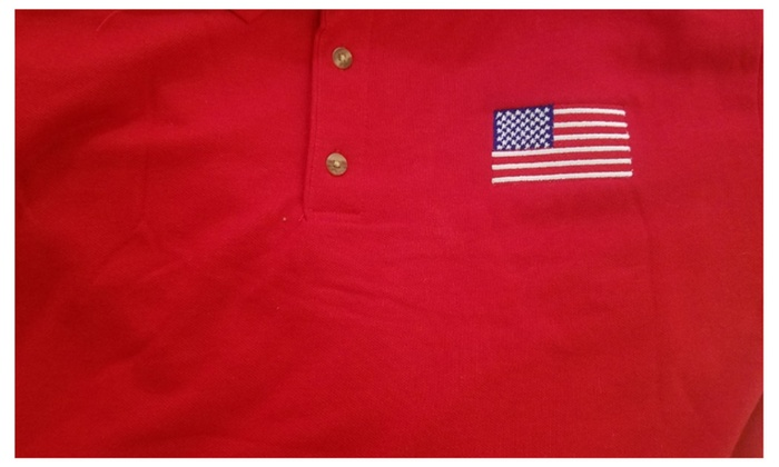 86146c2b Men's Polo shirt American Flag Embroidery | Groupon