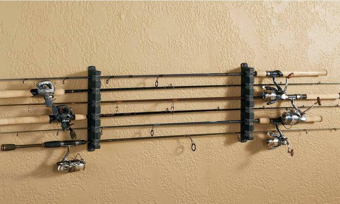 Storage Stand Holder Wall Mount Horizontal Boat Rod Rack Sport Fishing Gear Pole