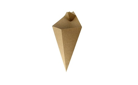 Packnwood 210CONFR1KR Kraft Paper Cone with Built-In Sauce Cup - 7.7 62d6af17-d67b-442f-b943-278409f1f96e