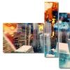City at Sunrise - Modern Wall Art - 63x32 - 4 Panels