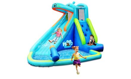Inflatable Kids Hippo Bounce House Slide Climbing Wall Splash Pool w/ Bag