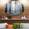 Black and White Foggy Forest' Forest Metal Circle Wall Art