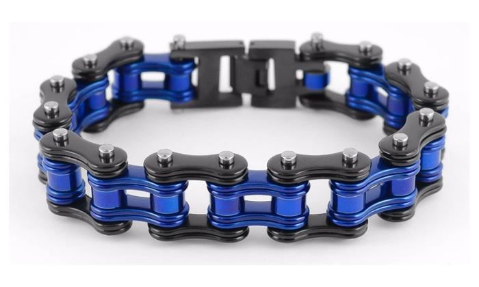 Men S Law Enforcement Style Bike Chain Bracelet Black And Blue