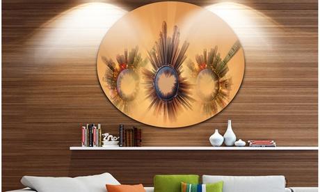 Miniature Earth Planets with Skyscrapers' Ultra GlossyAbstract Circle Wall Art 15a691df-4e00-4435-8ff3-da3fa087ad5e