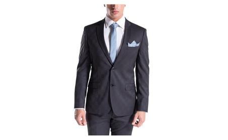 Porto Filo Men's Slim Fit Suit with Black and Blue Checkered Design
