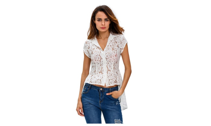 Women's White Mermaid Tail Floral Lace Shirt