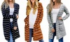 Women Striped Long Sleeve Cardigan Opent Front Lightweight Jacket