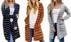 Women Striped Long Sleeve Cardigan Opent Front Lightweight Jacket