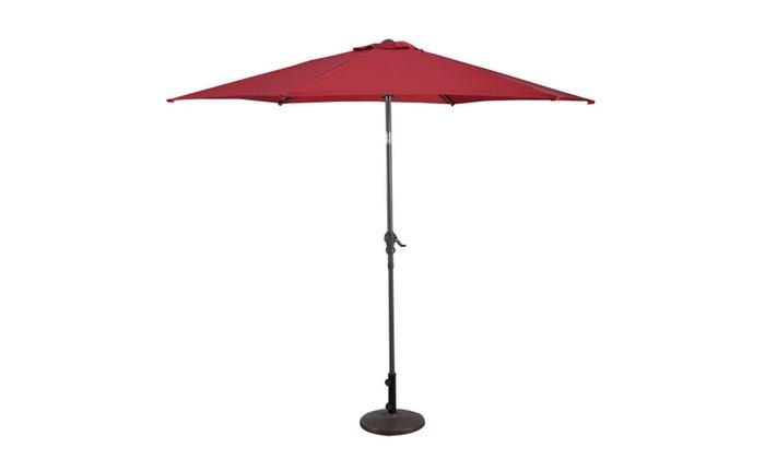 9FT Patio Market Steel Tilt Patio Umbrella W/ Crank Outdoor Yard Garde ...