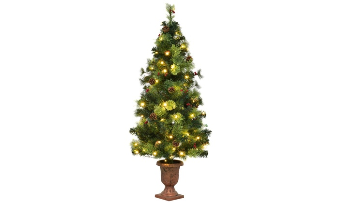 5ft pre lit christmas entrance tree w 100 led lights red berries
