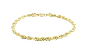4MM Diamond-Cut Rope Chain Bracelet in 10K Solid Gold by Moricci