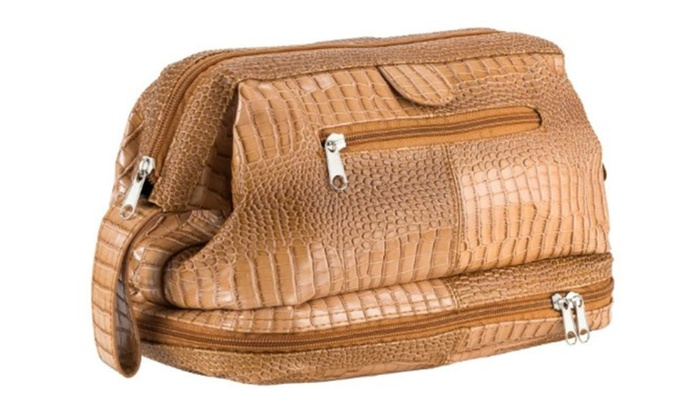 Caseling Pu Crocodile Leather Toiletry Bag Travel Case kit