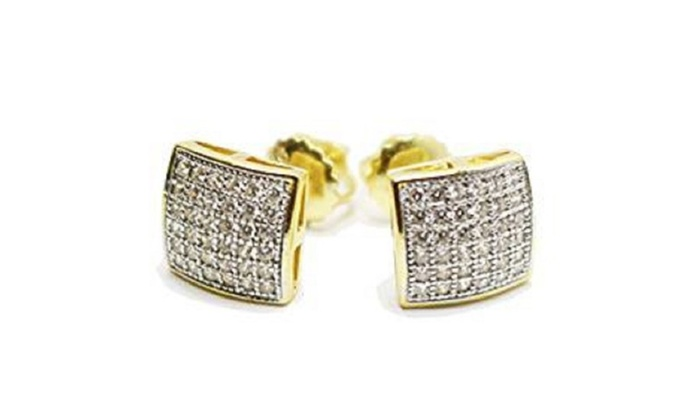 Mens La s 10K Yellow Gold Designer Square Micro Pave Diamond