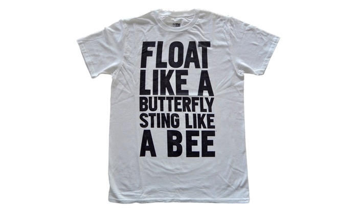 Sftzee Muhammad Ali Float Like A Butterfly Quote White Adult Tee