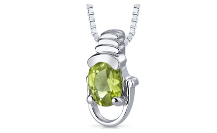 Peridot Pendant Necklace Sterling Silver Oval Shape 0.75 Carats SP4662