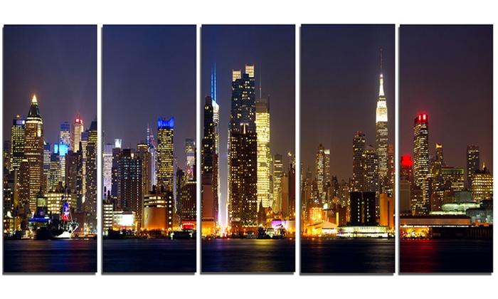 New York Skyline at Night Cityscape Metal Wall Art 60x28 5 Panels ...