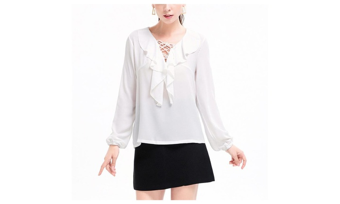 Womens Casual Chiffon Ladies V-Neck Cuffed Sleeve Blouse Tops