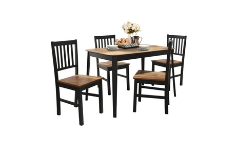 Costway 5 Pcs Mid Century Modern Dining Table Set 4 Chairs w/Wood Legs