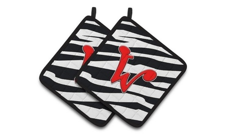 Carolines Treasures CJ1024-WPTHD Monogram Initial W Zebra Red Pair of Pot Holder photo