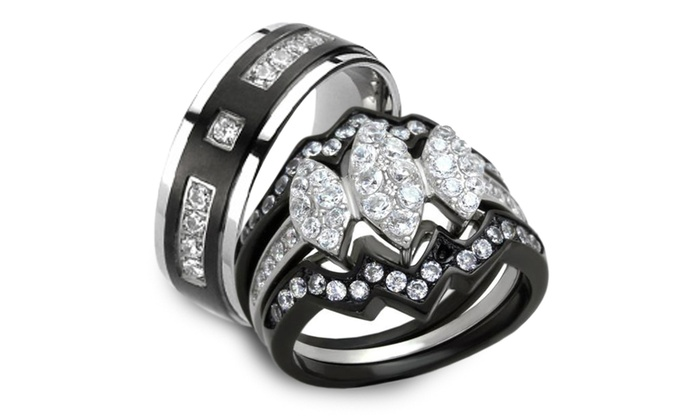 Marimor Jewelry Stainless Steel Black Ion Plated His /& Hers 3pc Wedding Engagement Ring Band Set