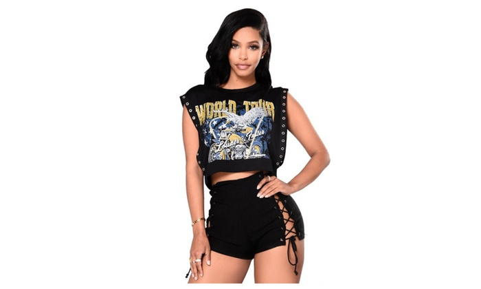 Sexy Punk Style Two-Piece Set of T-shirt Hollow Straps Shorts Two Sets