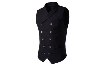 Men Double Breasted Gilets Fit Waistcoat Slim Blazer Business Suit