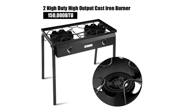 Propane 150000 BTU Double Burner Gas Cooker Stand Stove Electronic Ignition BBQ